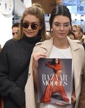 sunglasses,kendall jenner,glasses,coat,black sweater