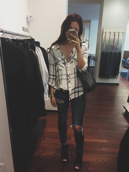 blouse white blouse black white striped ripped jeans