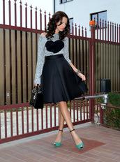 my silk fairytale,sweater,skirt,shoes,bag,jewels