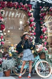 gracefullee made,blogger,top,skirt,hat,socks,shoes,jewels,sunglasses,ruffled top,ruffle skirt,spring outfits,sandals,red heels