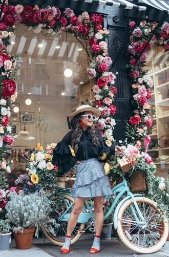 gracefullee made blogger top skirt hat socks shoes jewels sunglasses ruffled top ruffle skirt spring outfits sandals red heels