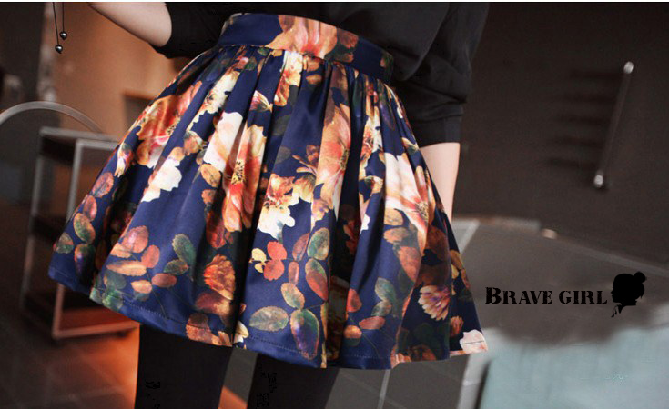 Autumn and winter vintage print skirt floral Print short skirt All match high waist Skirt bust  Sweety  Flower Printed EK 165-inSkirts from Apparel & Accessories on Aliexpress.com