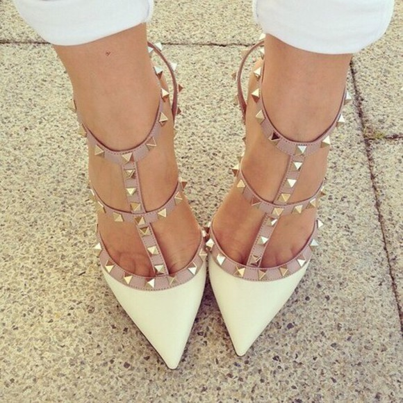 Valentino shoes studs high heels cute white white heels stud heels fashion