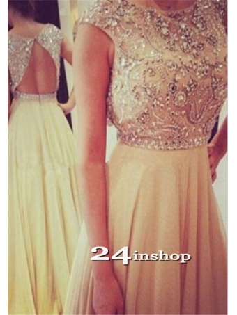 Champagne Chiffon round neckline Backless Long Prom Dresses, Evening Dress [B0049] - $219.99 : 24inshop