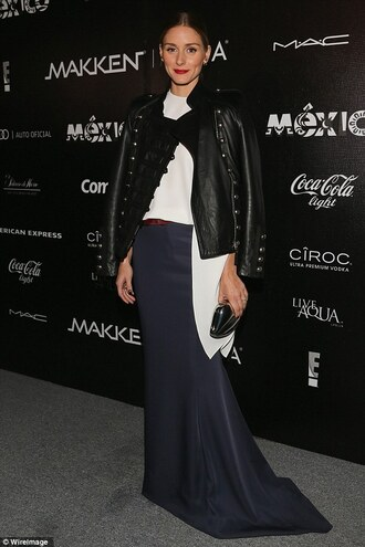 jacket olivia palermo fall outfits bag blouse leather jacket maxi skirt