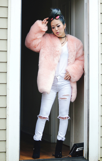 aika y aika's love closet blogger coat t-shirt jeans shoes sunglasses pink coat white jeans ripped jeans blue hair white top black boots