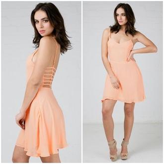 dress angl salmon peach strappy cute fashion girly spring summer flowy