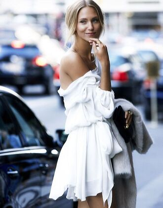 dress white white dress cute summer cute dress girl pretty new york off shoulder off the shoulder dress blouse white summer flowy dress flowing fashion ny layers white short elegant off the shoulder
