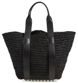 bag raffia bag raffia straw bag straw black black bag studs leather tote bag black leather tote bag raffia tote