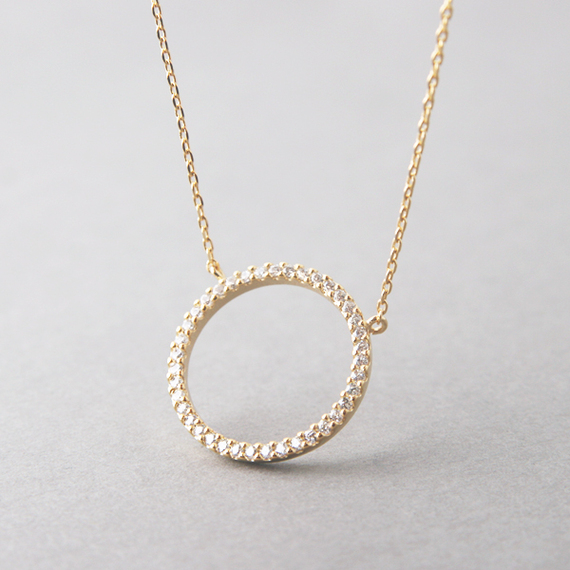 Swarovski Yellow Gold Outline Circle Necklace Sterling Silver