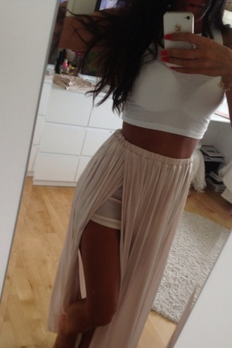 skirt maxi skirt lace dress crop tops cream color spring dress