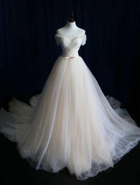 dress tulle skirt champagne dress wedding dress off the shoulder wedding sweetheart neckline gold sash