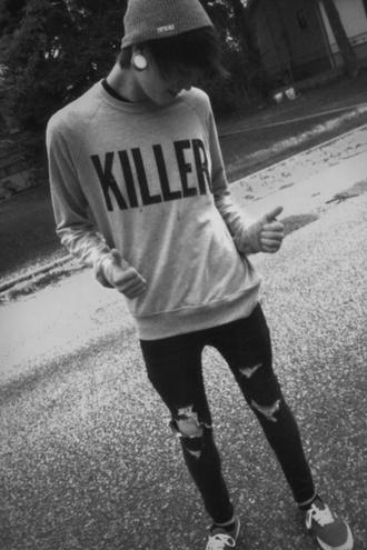 sweater killer grey sweater jeans menswear mens sweater hipster menswear mens skinny jeans mens ripped jeans
