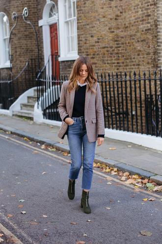 jacket black sweater tumblr blazer sweater denim jeans blue jeans cropped jeans boots green boots ankle boots fall outfits
