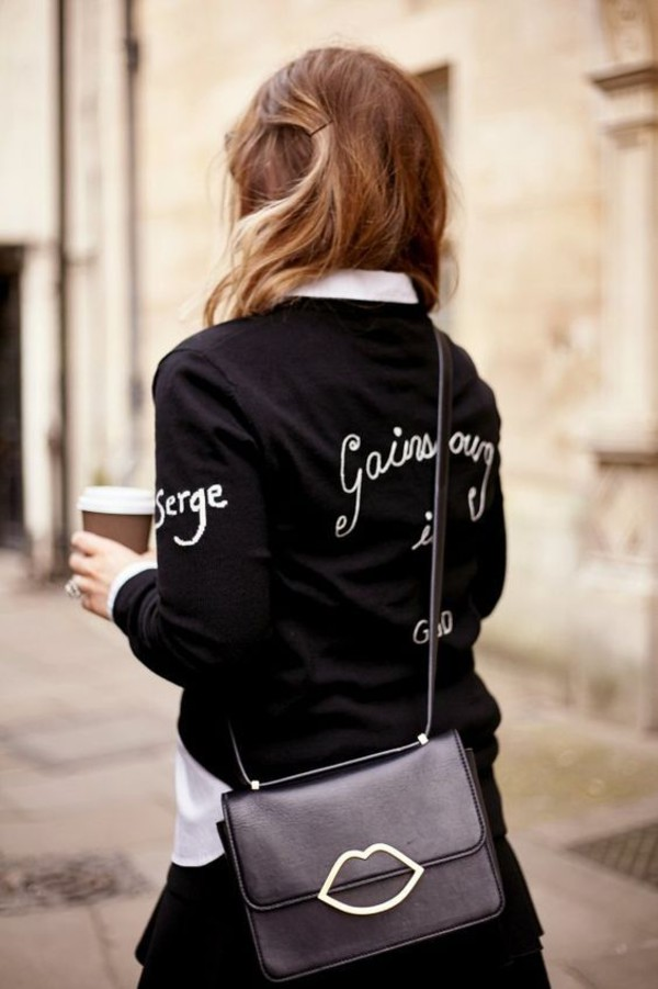 sweater black sweater bag black bag lips bag bella freud
