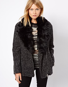 Mango | Mango Faux Fur Collar Oversized Biker Coat at ASOS