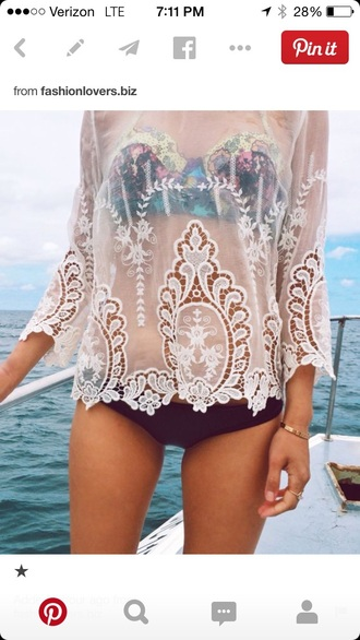 white top see through lace top summer top