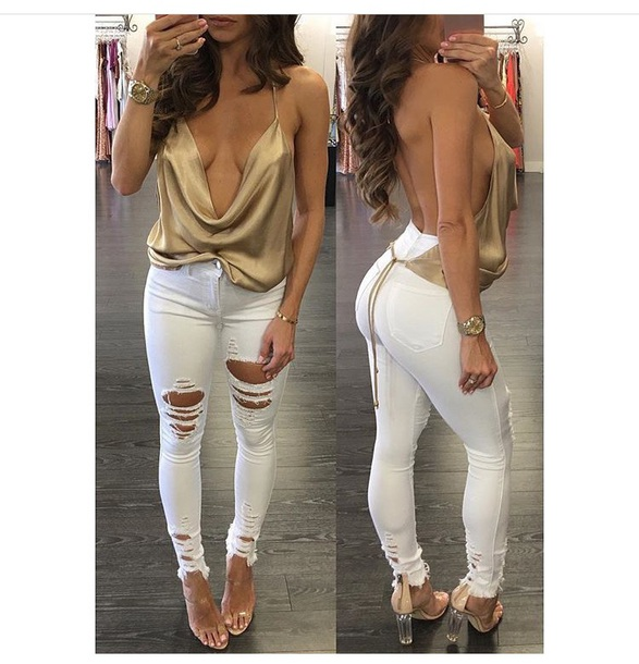 Jeans date outfit party outfits outfit outfit idea gold top skinny jeans white jeans ...