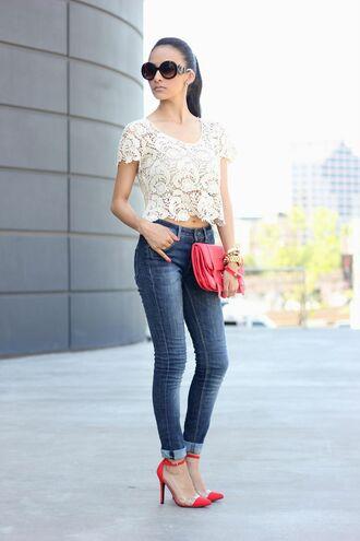 tank top top crop tops white lace heels pants denim sunglasses