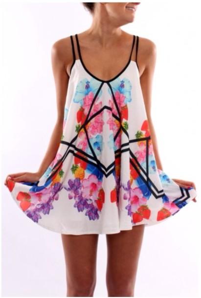dress geometric floral colorful flowers cross cross floral dress summer dress print white