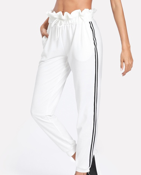 pants girly white joggers sweatpants stripes black