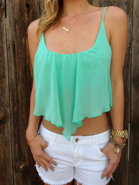 blouse crop tops shirt chiffon blouse cut off top turquoise spaghetti strap tank top top blue blue top blue tank top aqua top blue crop top light blue light blue top blue tank aqua tank aqua aquamarine jewels blue shirt crop tops summer outfits