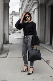 top,black bag,sunglasses,tumblr,black top,bell sleeves,bag,denim,jeans,black jeans,high heels,heels,shoes,office outfits,work outfits