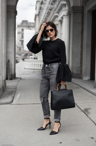 top black bag sunglasses tumblr black top bell sleeves bag denim jeans black jeans high heels heels shoes office outfits work outfits