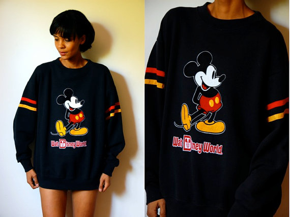 Vtg mickey mouse retro striped black yellow red by lulutresors