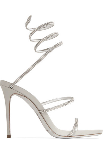 René Caovilla metallic embellished sandals leather sandals silver leather shoes