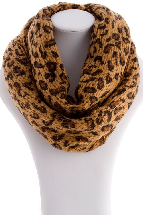 Leopard print infinity scarf in brown