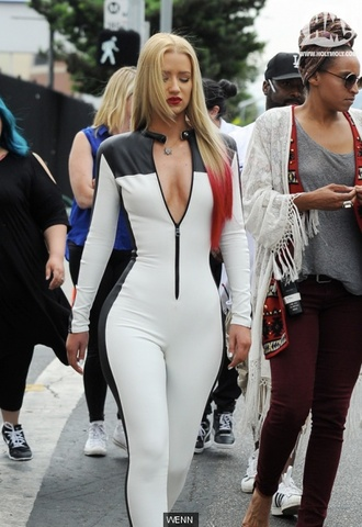 black and white jumpsuit catsuit iggy azalea black widow music video