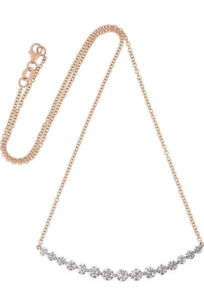Anita Ko Large Crescent 18-Karat Rose Gold Diamond Necklace