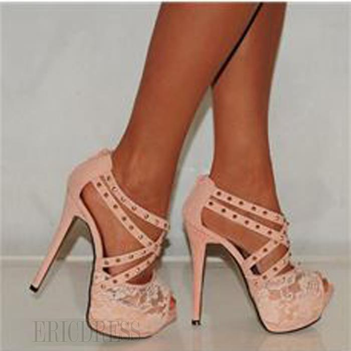 $ 65.99 Retro Fashionable Rivet Platform Peep-Up Stiletto Heels