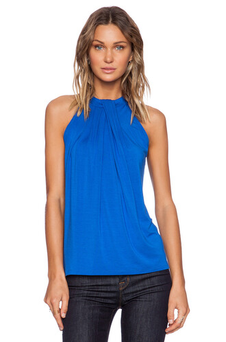 top halter top sleeveless blue