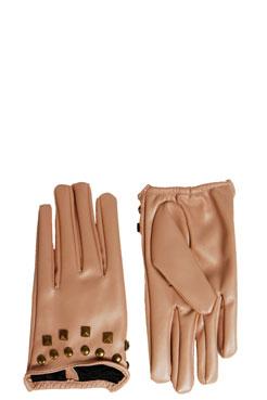 Matilda Stud Trim Leather Look Glove at boohoo.com