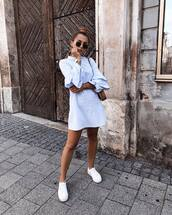 dress,white dress,mini dress,ruffle dress,white sneakers,mini bag,sunglasses,earrings
