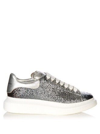 glitter leather grey shoes