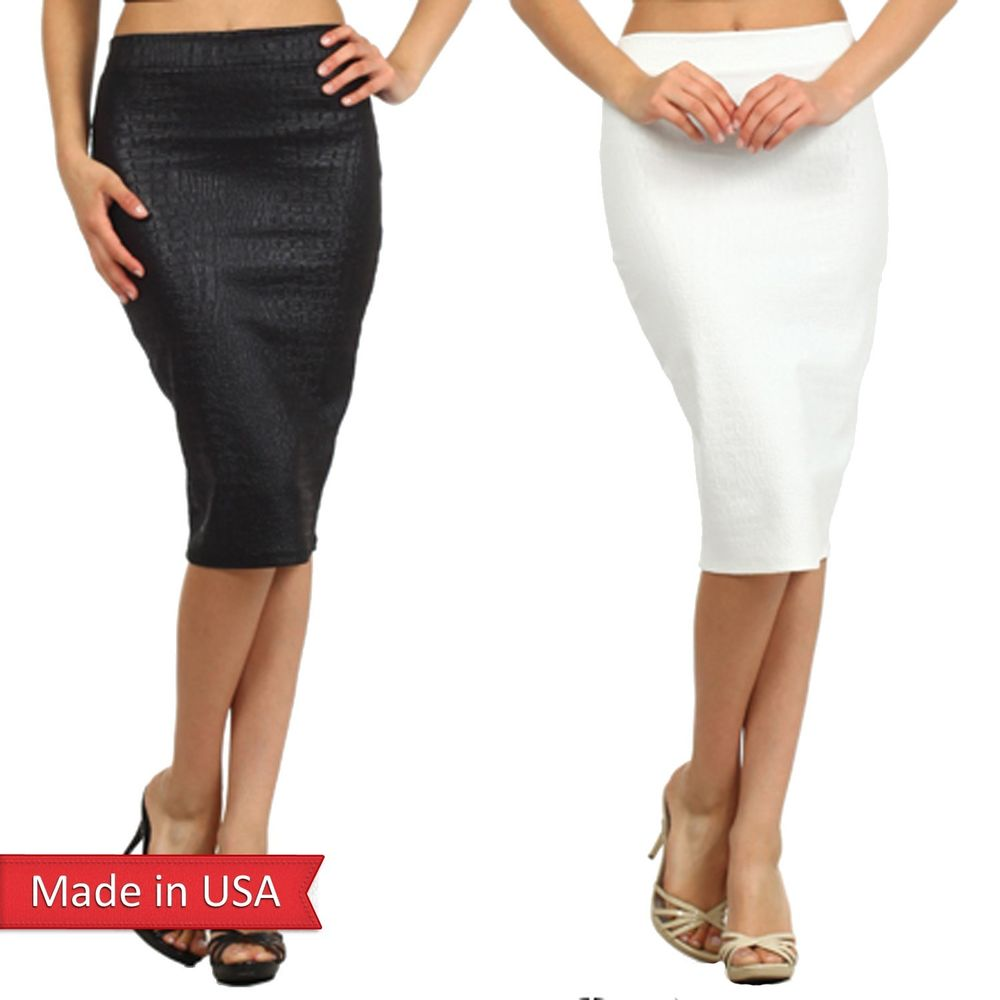 Faux Leather Python Texture Animal Print Black White High Waist Pencil Skirt USA