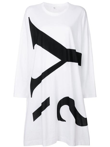 Y's dress long women white cotton print