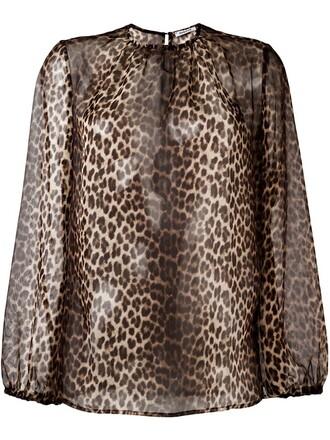 blouse sheer women print brown leopard print top