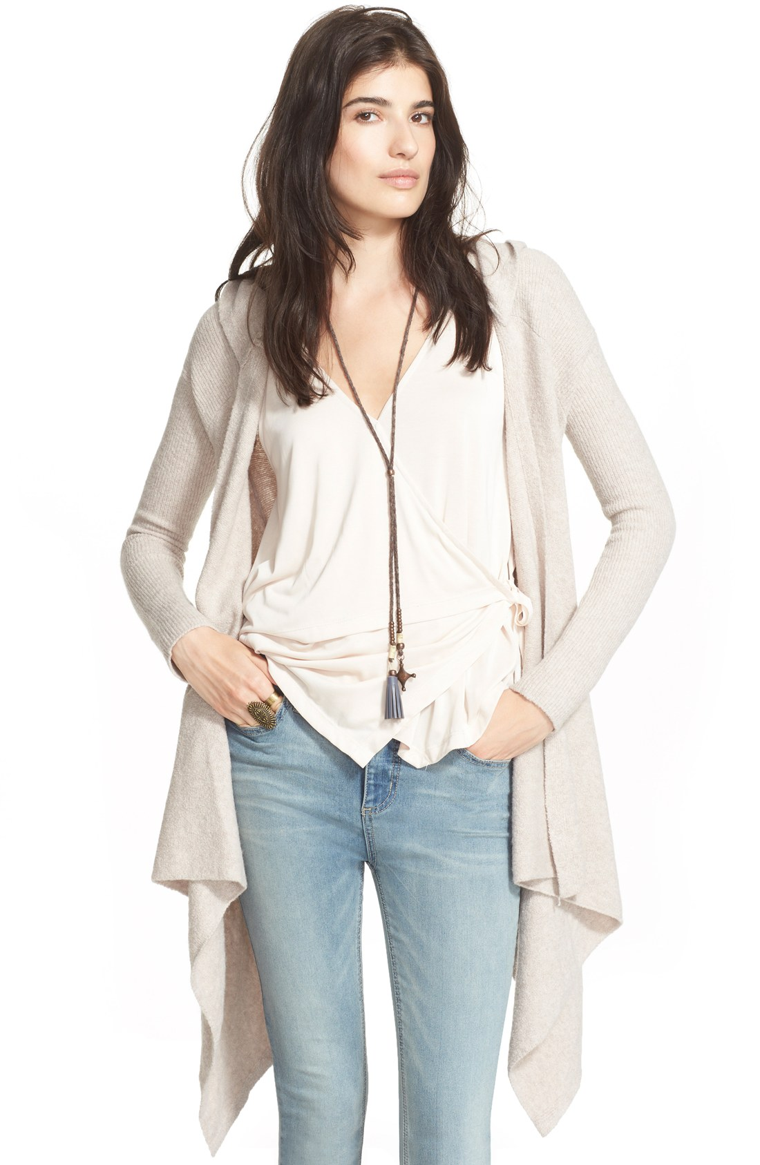 People 'Sloane' Hooded Wrap Cardigan | Nordstrom