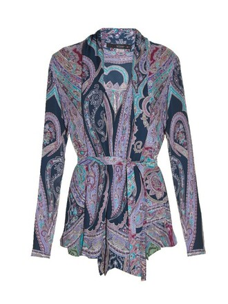 shirt print paisley purple top