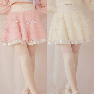 skirt fleece lolita kawaii pink cute pastel white cozy warm fall outfits winter outfits fashion style bows skater skirt gyaru