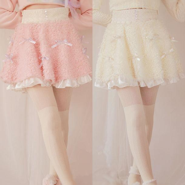 d1759d475 skirt, fleece, lolita, kawaii, pink, cute, pastel, white, cozy, warm ...