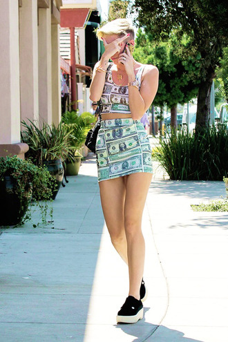 shirt dollar sign miley cyrus shoes skirt