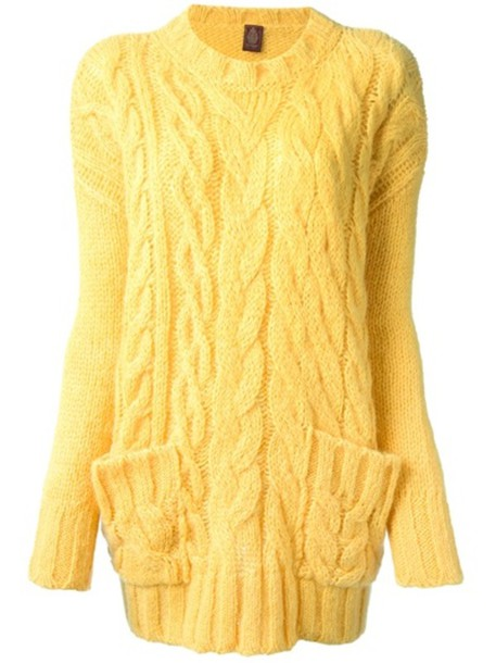 Sweater: yellow, cable knit - Wheretoget