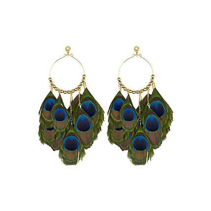 Green peacock feather drop earrings