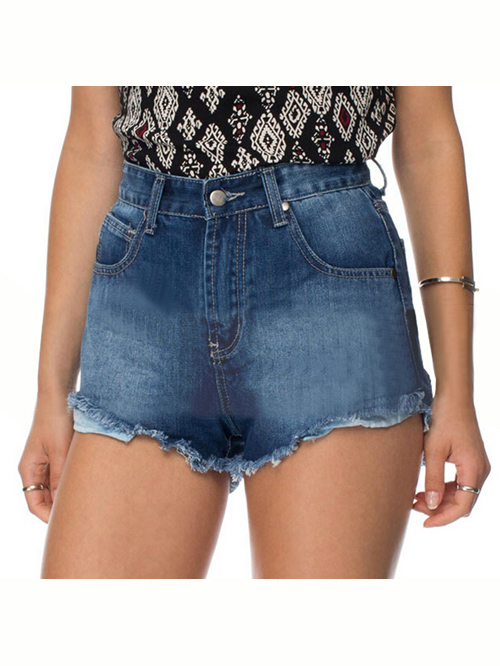 Dark blue denim high waist burr hot shorts