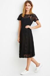 dress,crochet dress,midi dress,midi black dress,crochet black dress